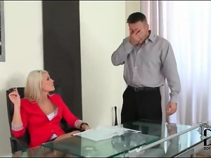 Blonde secretary babes suck his hard cock