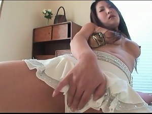 Webcam girl fondles tits and pussy