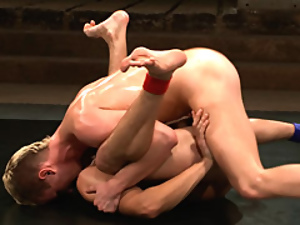 Wrestlers have sweaty gay sex