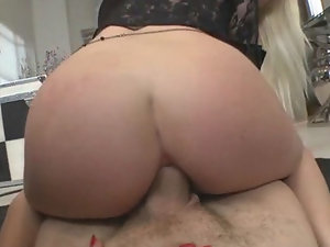 Blonde slut Jessie Volt rides huge cock in her ass