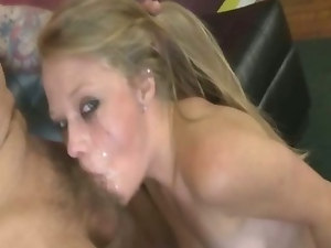 Teen blonde very rough gagging blowjob in her first time on camera