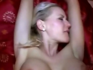Huge tits blonde amateur flashes her breast and fucked good