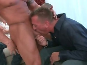 Group of horny guys crave for cock