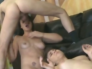Two teens brutally face fucked in rough threeway with some bad girls
