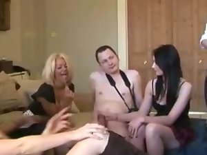 Horny slut calls the shots for her friends to stroke and strip