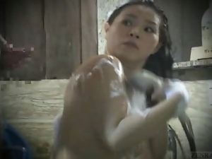 Subtitled real Japanese amateur bathhouse cumshot dare