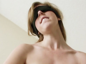 Redhead girlfriend puts blindfold on and sucks off BFs dick