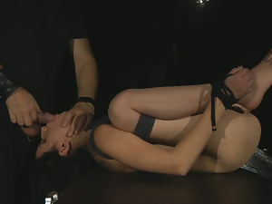 Brunette bound and fucked in uncomfortable position