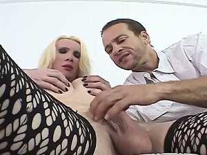 Chubby blonde shemale with huge ass gets a blowjob and sucks cock as well