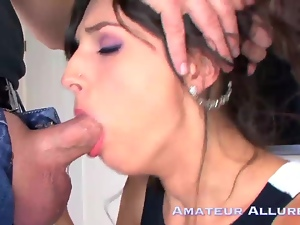 Kristine's swallows two loads in her luscious lips, mou