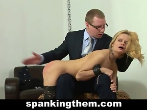 Spanking punishmanet for blonde secretary