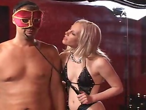 Blonde dominatrix humiliates her man