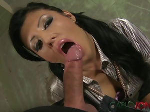 CarloJones Sexy smoking brunette babe milks his dick