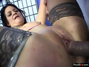 Stockinged MILF has her moist pussy and ass stretched