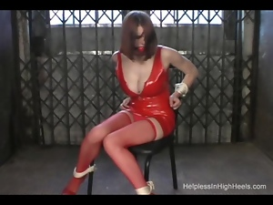 High heeled babe struggles for freedom