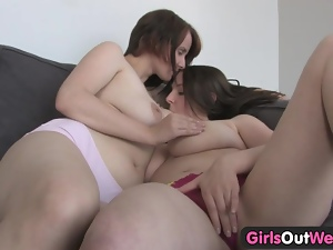 Girls Out West - Lesbians play with their huge tits