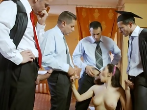 Schoolgirl gangbanged by a group of horny cocks