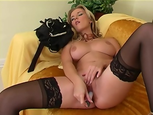 Masturbating in sheer stockings and high heels