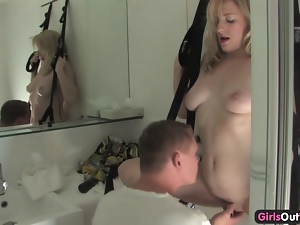 Cock hungry Aussie blonde fucked in a sling