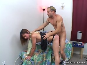 Amber Rayne takes this hard dick deep in her wet slot
