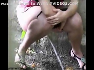Cute girl peeing badly