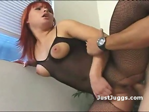 Juggy redhead gets pussy and ass pounded