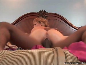 Horny blonde MILF bitch rammed on her bed by hung black bull
