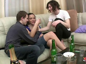 Two guys screwing petite brunette