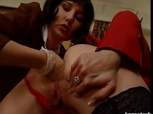 Blond gets bizarre insertions and fist service