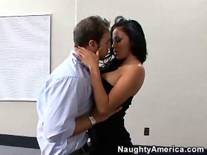 Sexy busty brunette fucks in the office place