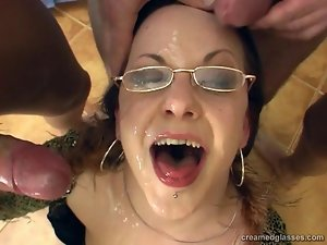 Glasses Wearing Slut Triple Teamed
