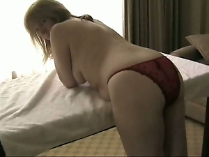 Chubby Mature Slut in Panties Masturbates Solo