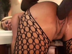 Busty Babe in Body Stocking Loves An Interracial Sex Scene