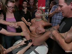 Busty blonde gets her holes fingered, toyed and pounded hard