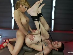 Shemale with big tits is fucking her man's hairy anus