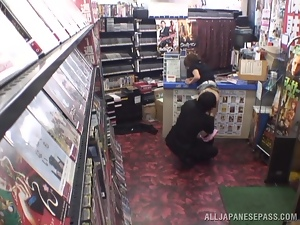 Two Asian Sluts Fucking with Two Guys in Sex Shop in Security Cam Video