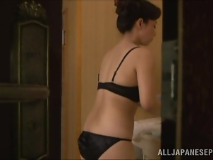 Voyeur video with Mai Itou taking a bath and masturbating