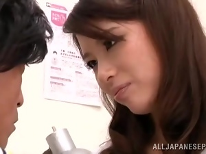 Japanese babe Kaede Imamura pleases a lucky dude with a footjob