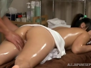 Banging a Lovely Pigtailed Japanese Teen after Oily Massage