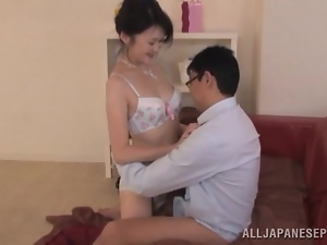 Japanese MILF Having Hot Sex after Blowjob on the Couch