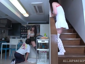 Nice Asian girl with big boobs gets fucked in a kitchen