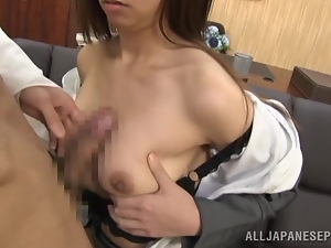 Japanese secretary Mako Higashio gets mouth-fucked by her boss