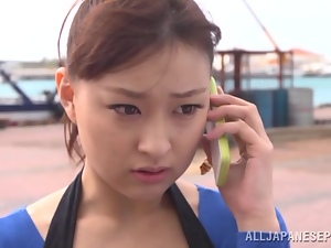 Sexy Yukiko Suo gets fucked and fingered on a beach