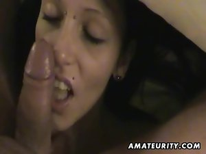 Cute amateur girlfriend sucks and fucks with cumshot