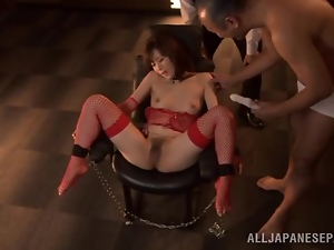 Japanese skank moans loudly while getting her snatch and tits toyed