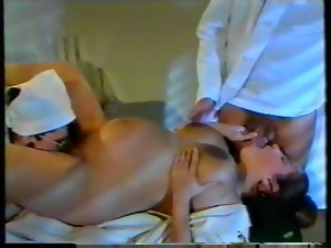 Pregnant chick gets fucked by a doctor and a nurse in a hospital ward