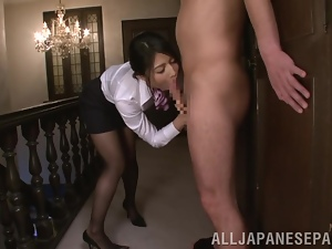 Horny office girl gives a nice head to her boss