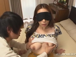 Blindfolded Japanese milf Aoi Aoyama gets her vag eaten and fucked