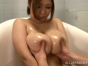 Reiko Yumeno gets her huge tits kneaded before sucking a dick