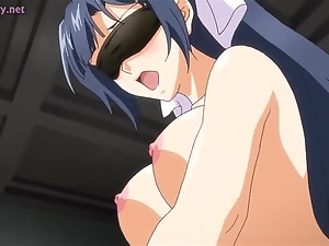 Anime babe sharing a strapon